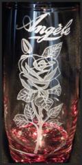Rose + prénom sur verre 1